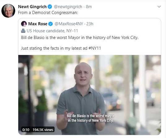 tweet newt gingrich democrat bill de blasio worst mayor history of new york city