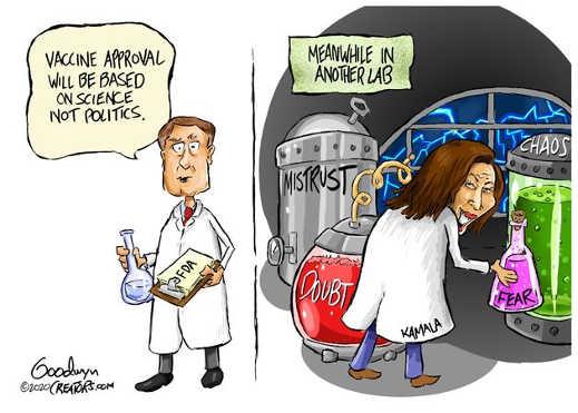 vaccine based on science not politics kamala harris lab mistrust doubt bear chaos
