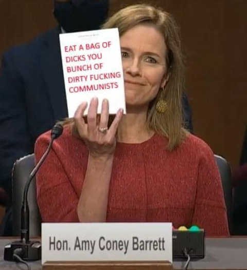 amy barrett eat a bag of dicks you dirty fucking communists notepad