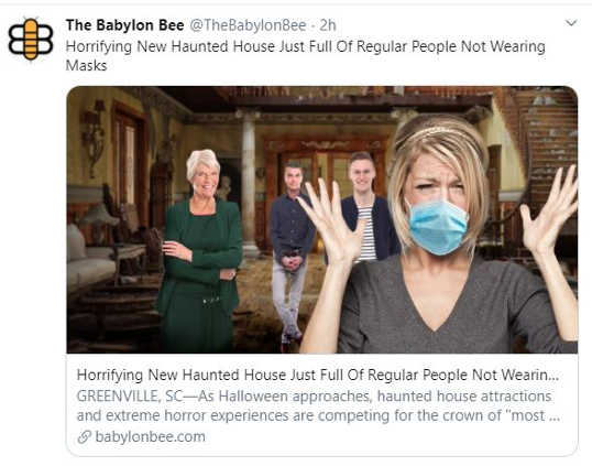babylon bee horrifying new haunted house just regular people not wearing masks