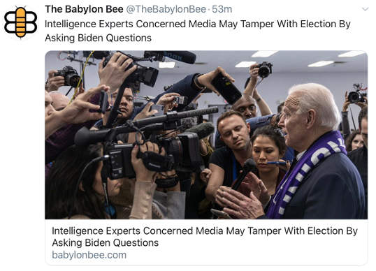 babylon bee intelligence experts concerned media may tamper with election by asking biden questions