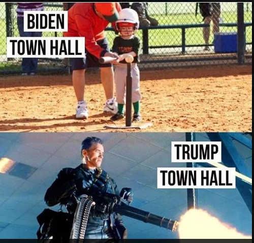 biden town hall tball trump town hall arnold terminator minigun