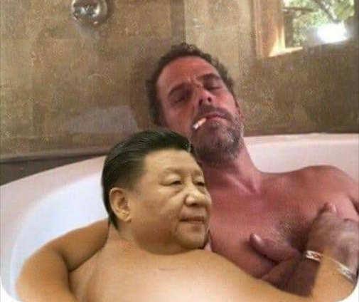 china president sleeping passed out hunter biden tub