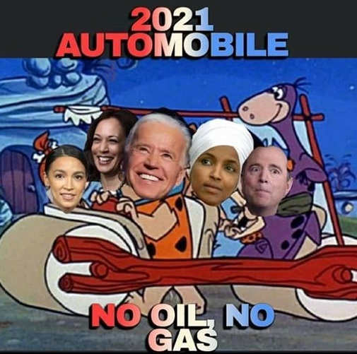 flintstones 2021 automobile aoc biden harris omar schiff no oil no gas