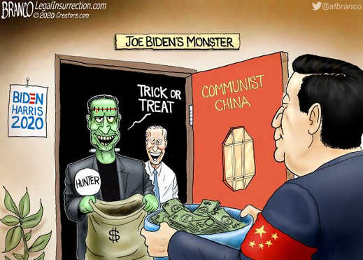 joe biden monster communist china trick or treat cash