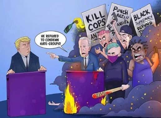 joe biden trump refused to condemn hate groups kill cops punch nazi black supremacy blm antifa
