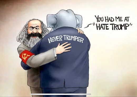 karl marx hugging never trumpers hate trump