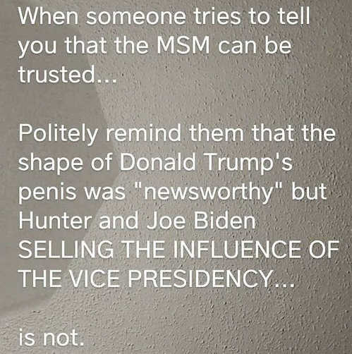 message when someone tells you mainstream media trusted trump penis newsworthy biden selling influence not