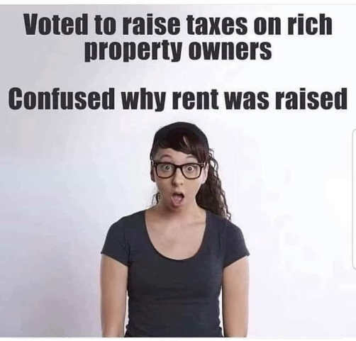 millenial socialist voted to raise taxes on property owners confused why rent was raised