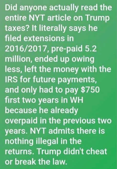 question did anyone actually read nyt trump tax article