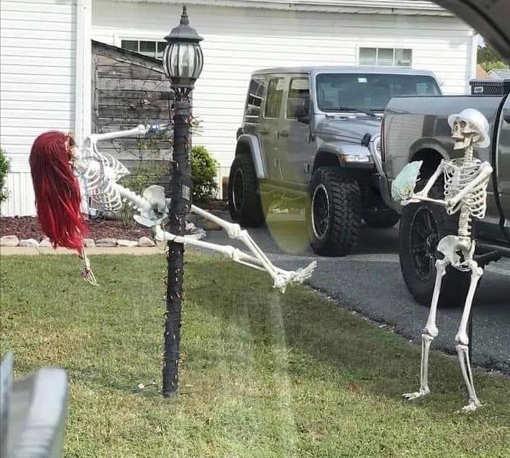 skeletons dancing on stripper pole