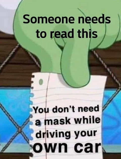 someone needs to read this dont need mask while driving your own car