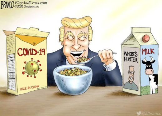 trump eating covid cereal made in china milk wheres hunter biden