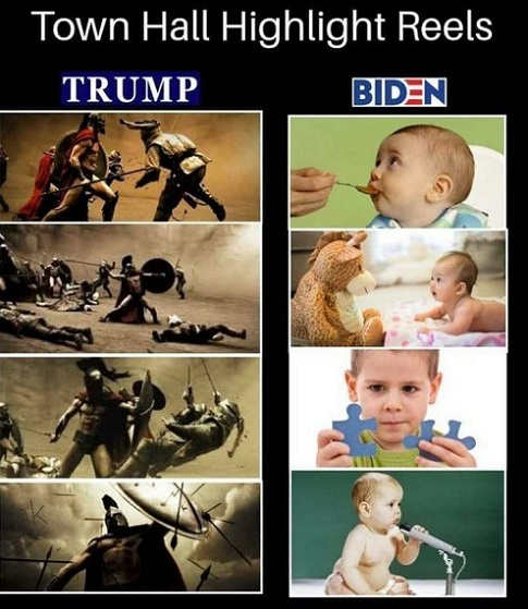 trump gladiator warrior biden spoon fed infant town halls