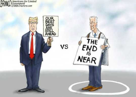 trump our best days are still ahead joe biden end is near signs