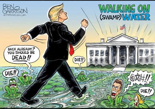trump walking on swamp water die ben garrison