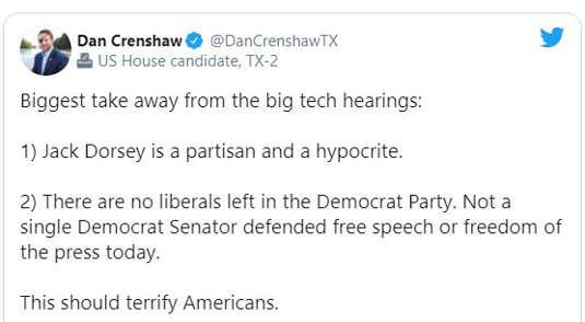 tweet dan drenshaw tech hearings dorsey partisan hypocrite not one democrat senator defended free speech press