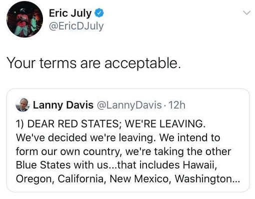 tweet eric july red states forming blue states country hawaii california washington terms acceptable