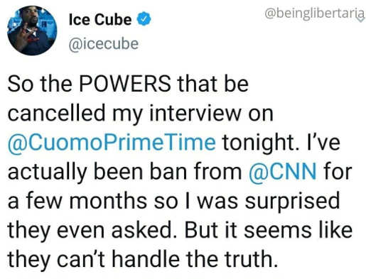 tweet ice cube cnn cuomo cancelled interview cant handle the truth