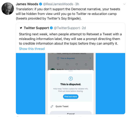 tweet james woods twitter censor if dont support democrat narrative reeducation camp