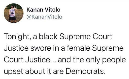 tweet kanan vitolo black supreme court justice swore in female only people upset democrats