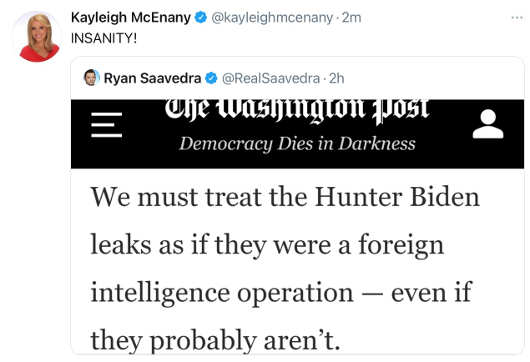 tweet kayleigh mcenany washington post read hunter biden leak foreign intelligence operation