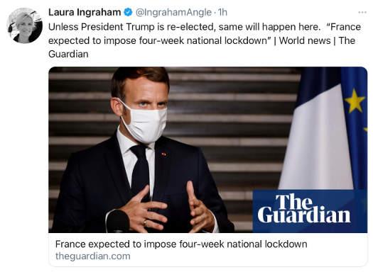 tweet laura ingraham guardian france expected to impose 4 week national lockdown