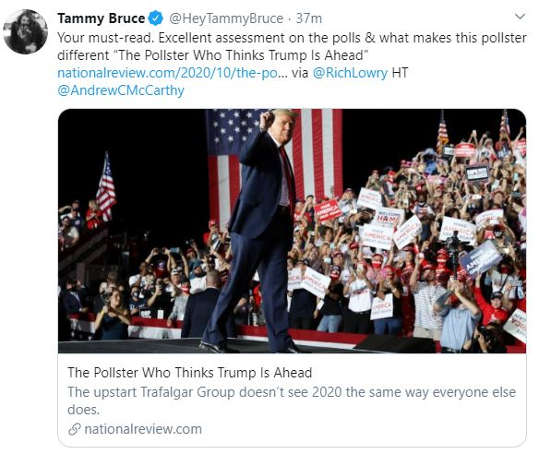 tweet tammy bruce must read pollster national review shows trump ahead