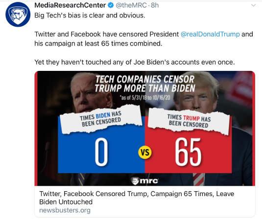 tweet twitter censored 65 trump tweets 0 biden ones