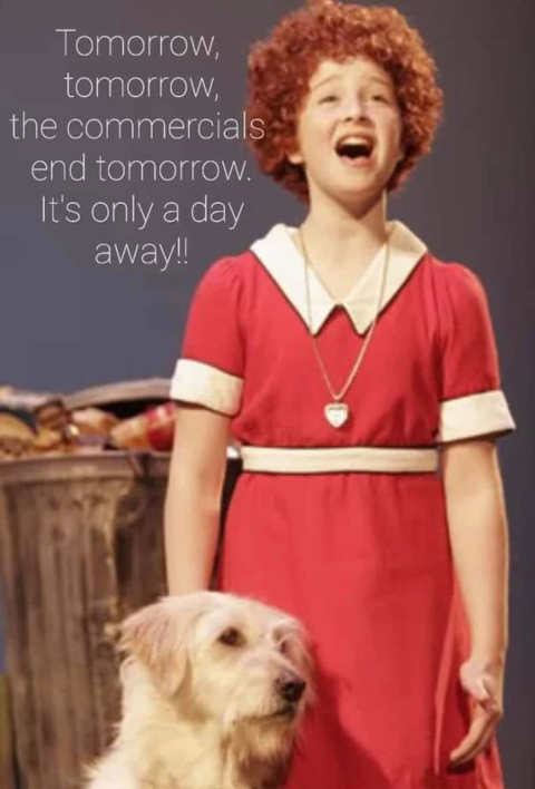 annie tomorrow commercials are over tomorrow