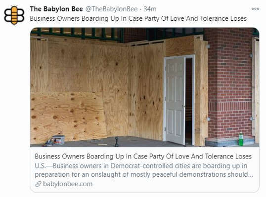 babylon bee business owners boarding up in case party of tolerance protests riots looting