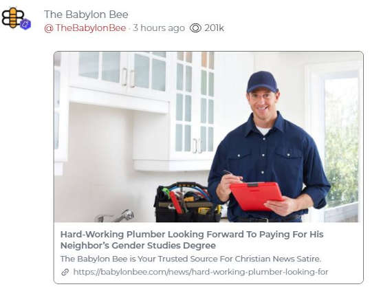 babylon bee hardworking plumber looks forward to paying for neighbors gender studies degree