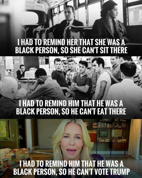chelsea handler had remind black person back of bus cant eat there cant vote trump