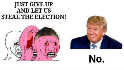 crying liberals just give up stolen election trump no