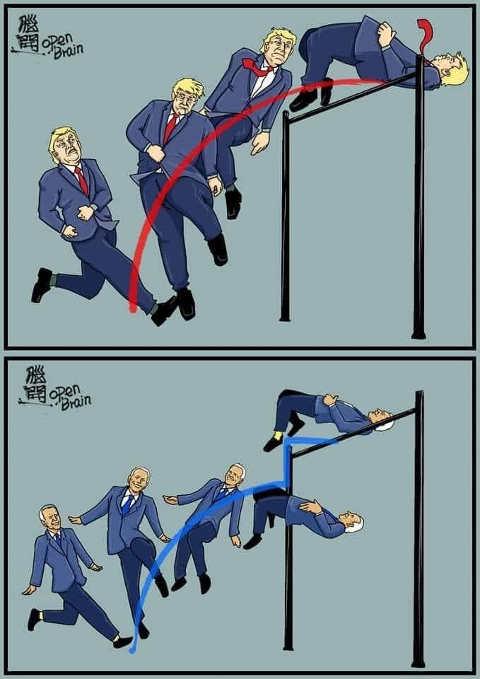 donald trump jump over hurdle biden misses but pushed over