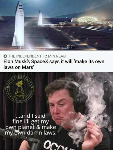 elon must take over mars make own laws