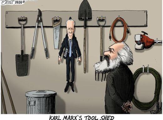 karl marx tool shed shovel saw joe biden