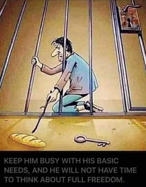 message keep him busy basic needs never full time for freedom bread key jail