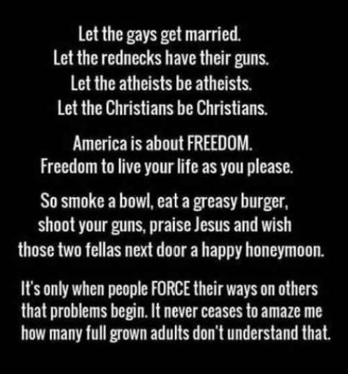 message let gays marry rednecks have guns smoke weed only when force others your opinion problems arise