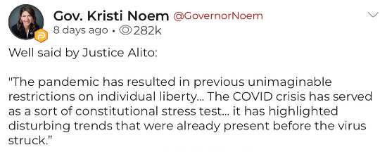 quote noem justice alito pandemic resulted unimaginable restrictions on liberty trends