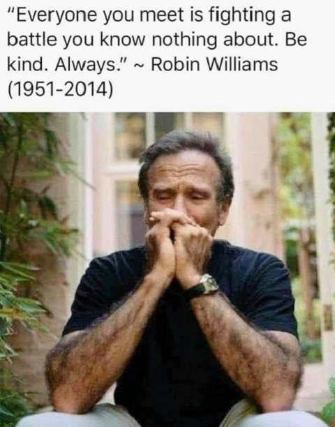 quote robin williams everyone you meet is fighting a battle you know nothing about be kind always