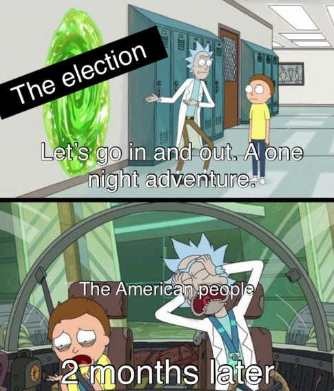 ricky morty lets go in out american people 2 months later