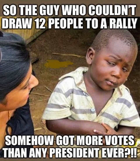 so guy couldnt get 12 people to a rally got more votes any president ever