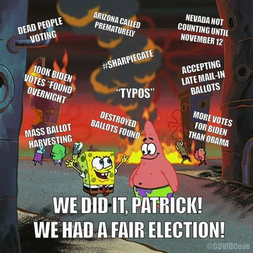 sponge bob we did fair election ballot harvesting dead people voting typos