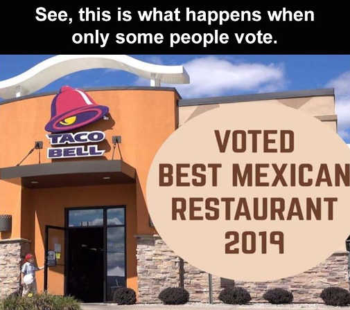 taco bell voted best mexican restaurant what happens when only some people vote
