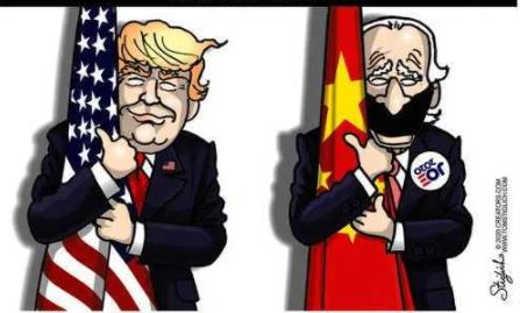 trump hugging us flag joe biden chinese flag
