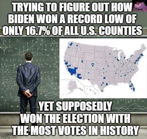 trying to figure out record low counties biden most votes in history