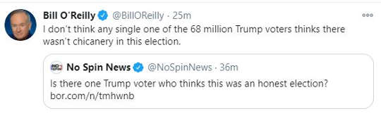 tweet bill oreilly not one of 68 million trump voters think not chicanery in election