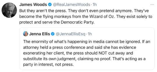 tweet james woods press flying monkeys democrat party