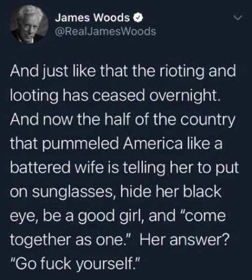 tweet james woods rioting looting ceased battered wife fuck yourself